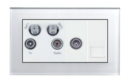 RetroTouch Media Panel - SAT / TV / VHF Double Plate White Glass PG 04311